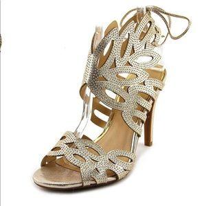 Jessica Simpson Heel Encina2 Canvas Gold Heel-6.5